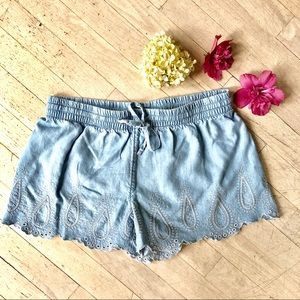 Eyelet detail denim drawstring shorts